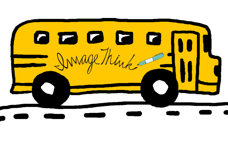 ImageThink graphic recording, simple illustration of a school bus driving to the right w/ ImageThink written on the side