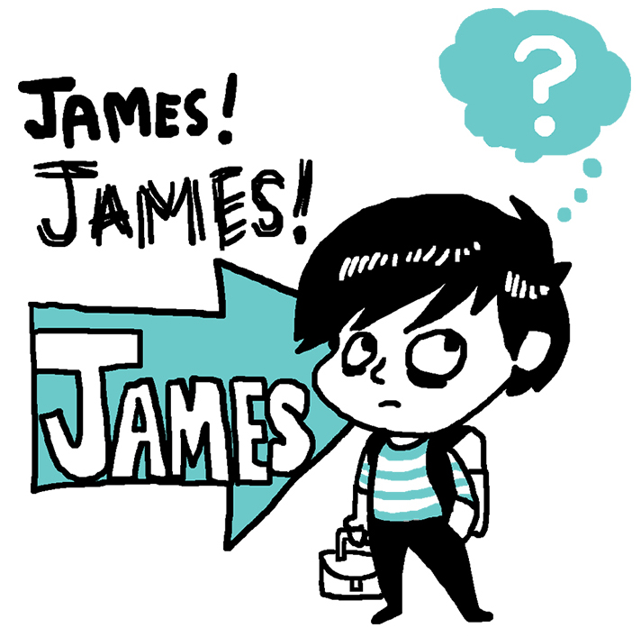 ImageThink graphic recording, illustration of a boy with James! written over an arrow pointing at the boy, he's ignoring them calling his name with a question mark above his head.