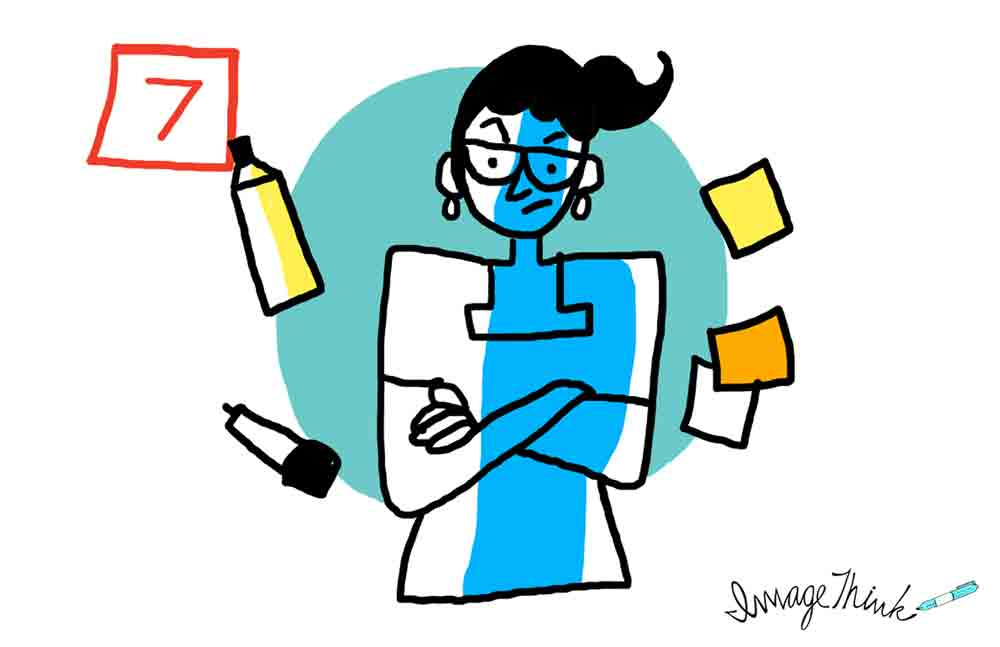"""7 Opportunities to Make Your Brainstorming Meeting a Success"" by ImageThink graphic recording. #7 you need to hire a professional facilitator - illustration of a frustrated woman with her arms folded, surrounded by markers and post it notes."