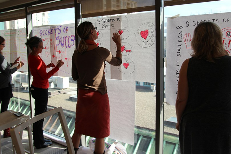 business leaders learn graphic recording in the visual leadership workshop hosted by gisc and imagethink in cape cod