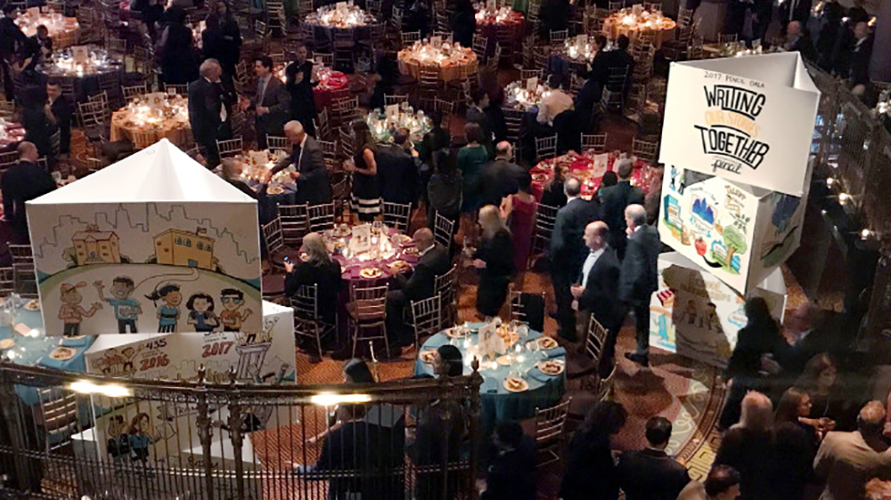 graphic recording towers by imagethink at the pencil fall gala