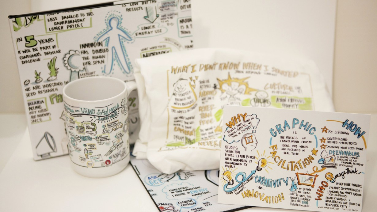 Printed materials repurpose artwork created by ImageThink into gifts like mugs, portraits, and tee shirts.