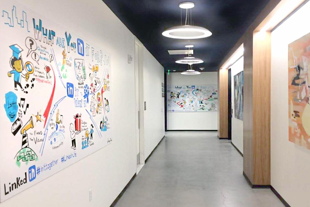 ImageThink's work proudly displayed in the hallways of LinkedIn's headquarters, as an example of how clients use our work after an engagement.