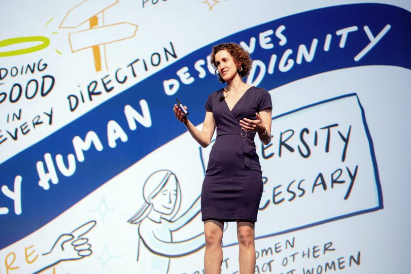 ImageThink CEO delivering Keynote at WBENC 2019 in Baltimore Maryland in front of one of her own ImageBoards.