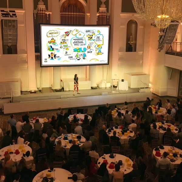ImageThink Visuals being displayed on the large projection screen at the annual fundraising gala for education non-profit PENCIL.