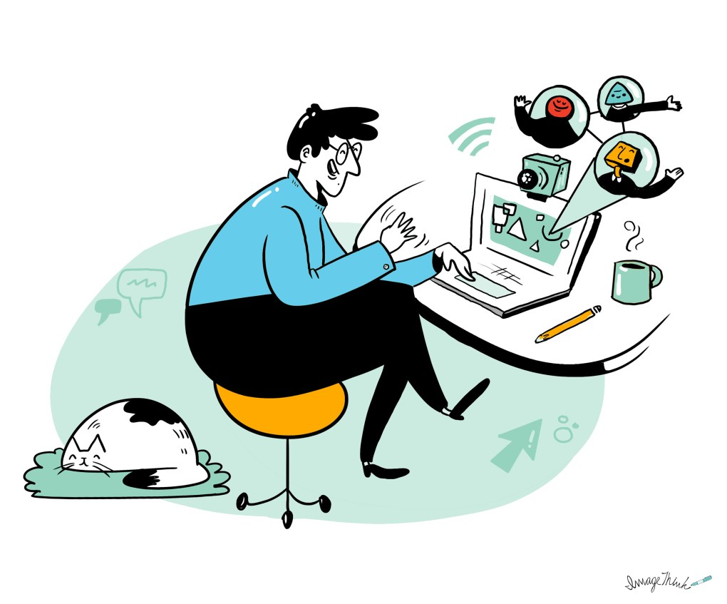 illustration of an employee working from home and using a laptop and webcam for a virtual meeting.