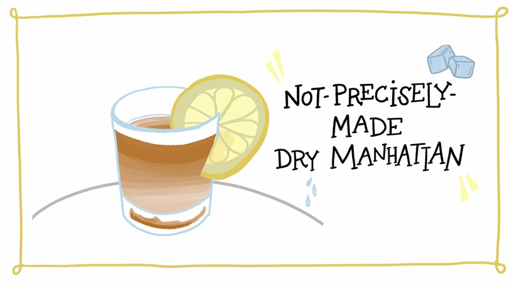 """ImageThink's """"Not Precisely Made"""" dry manhattan; a nice nightcap during sheltering in place."""