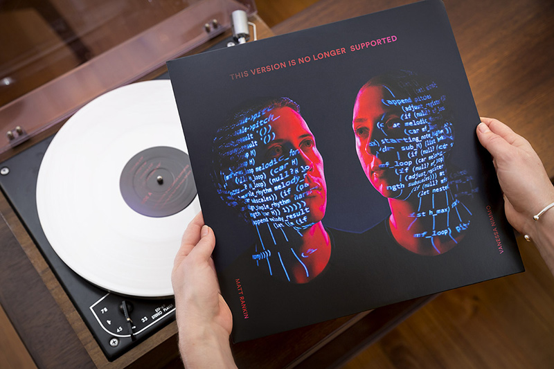 Final album with white vinyl! Cover art for the 'This version is no longer supported' album, created by Image Workshop photography. Creative concept photographers in Melbourne.