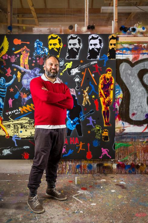 Portrait of HA HA, Australia's most notorious stencil artist by Melbourne portrait photographer Sharon Blance.