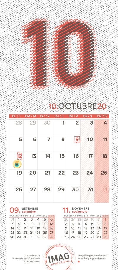 Calendario de pared 2020 IMAG Impressions