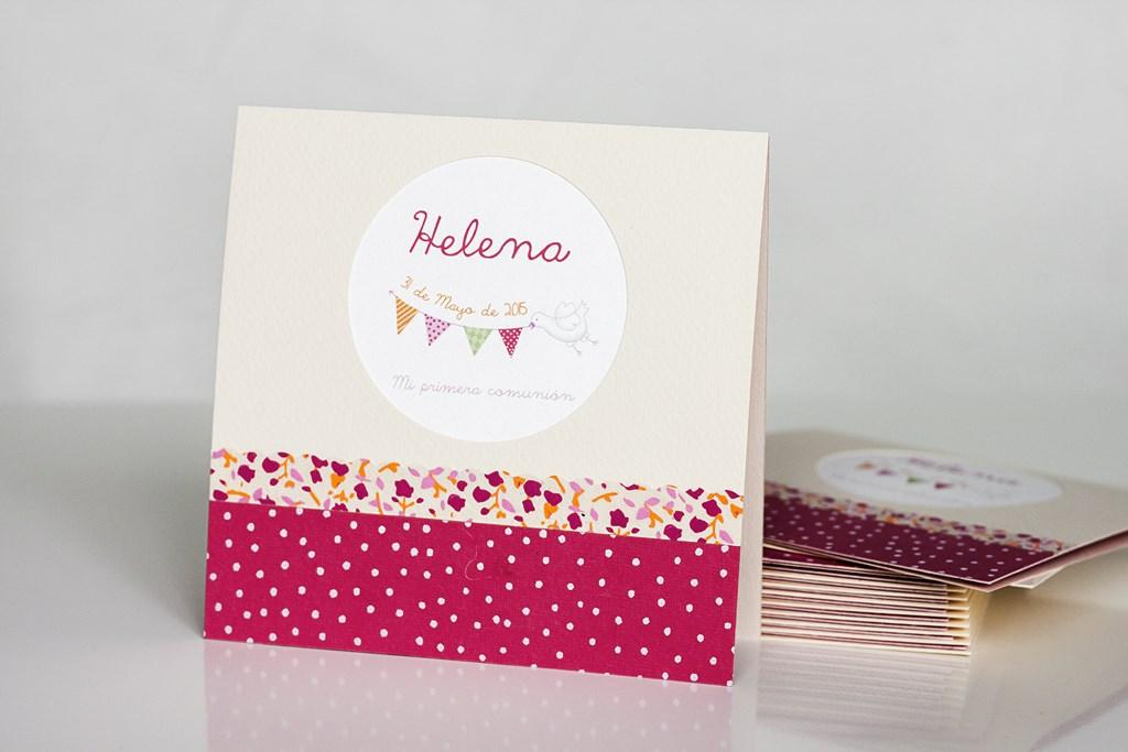 tarjeta recordatorio comunión niña ilustración rosa flores donostia gipuzkoa