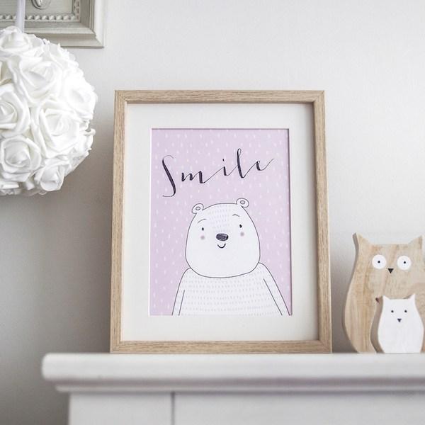 lámina smile rosa cuadros infantiles oso decoración infantil