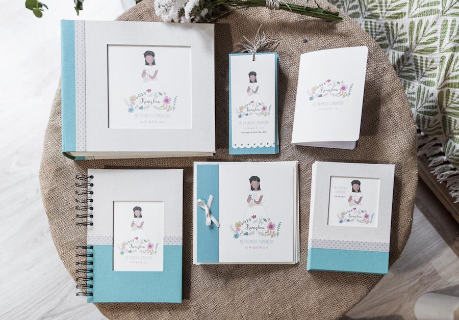 comunion personalizada ilustración album recordatorios marcapáginas libro de firmas