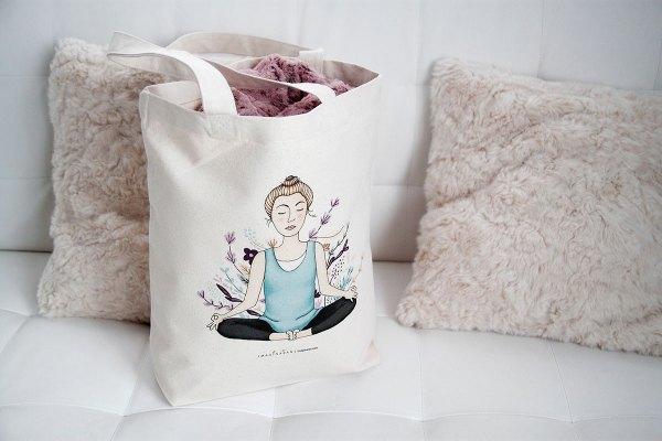 Bolsa de lona de algodón orgánico Yoga