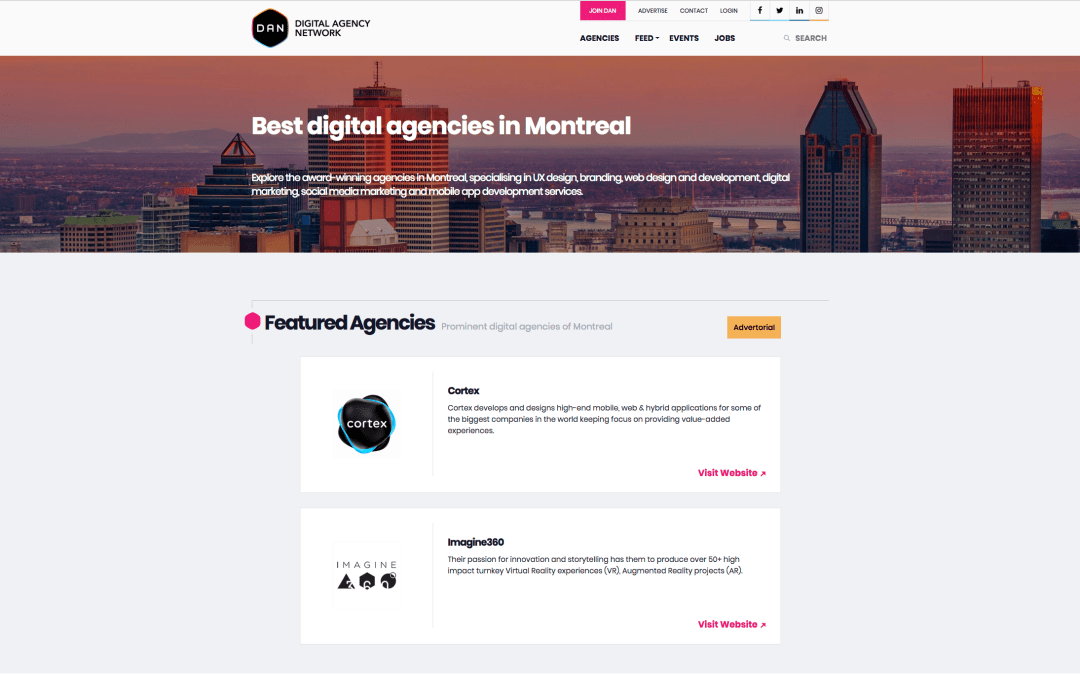 Imagine 360 is selected to be one of the Best digital agencies in Montreal