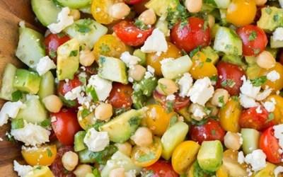 Chick Pea Salad with Feta and Greek Lemon Dressing