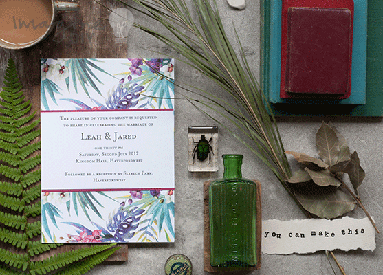 wedding idea for botanical theme wedding invitation. Bright wedding stationery.