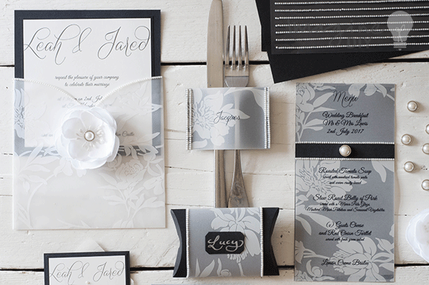 Monochrome Black White Wedding Stationery wedding idea for monochrome wedding stationery. DIY black and white wedding stationery with pearls