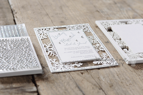 Make your own diy winter wedding stationery and invitations. Blank laser cut invitations with snowflake details. DIY wedding stationery supplies from Imagine DIY