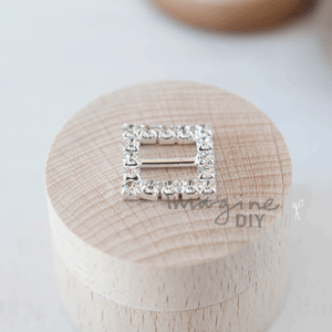 square crystal buckle. Daiamante ribbon slider in square shaped. Decorative crystal buckle for DIY wedding stationery, invitations, card making and paper crafts