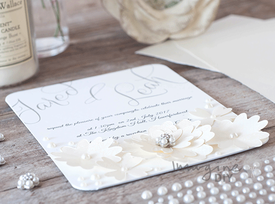 How to MakeLace Flowers with Pearls Wedding Invitation Imagine DIY