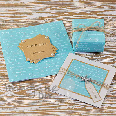 How to make your own diy wedding stationery imagine diy wedding aqua invitations stopboris Images