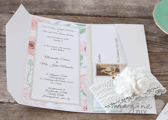 Floral wedding invitation to make yourself diy pocket fold wedding invitation