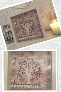 pretty framed family tree gift with floral details. Made by Jessica Govertt, winner of the Imagine DIY wedding stationery competition in October 2015