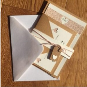 DIY competition winner april 2016 Leanne Griffiths kraft and hessian heart wedding invitations and RSVP envelope