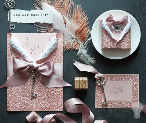 Blush pink embossed wedding stationery. Luxury DIY wedding invitations and stationery. Make your own.