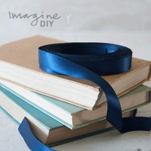 13mm navy satin ribbon. Narrow double faced satin ribbon in navy. DIY wedding stationery supplies