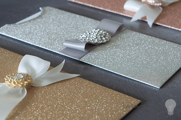 Make Striking Glittery Wallet Invitations