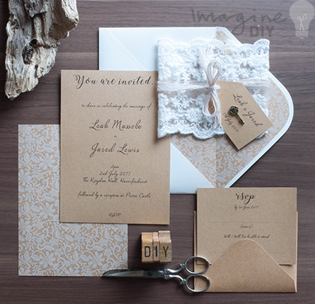 How to MakeRustic Kraft and Lace Wedding Invitations Imagine DIY