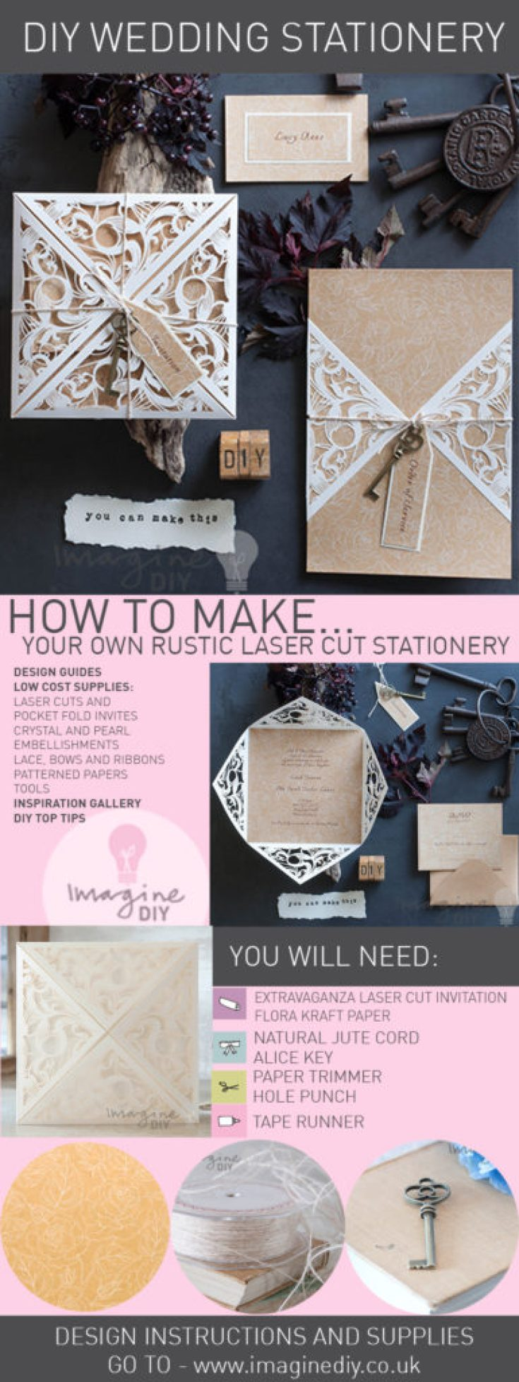 How to makestic laser cut wedding stationery imagine diy rustic laser cut wedding stationery junglespirit Images