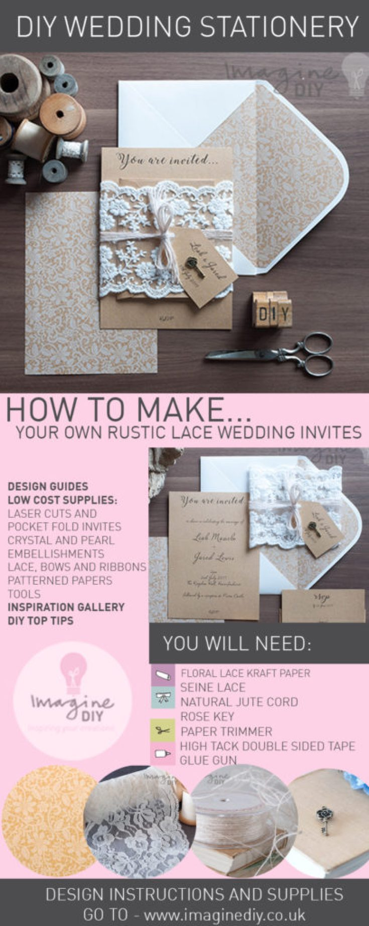diy wedding invitations how to make rustic kraft and lace wedding invitations 3619