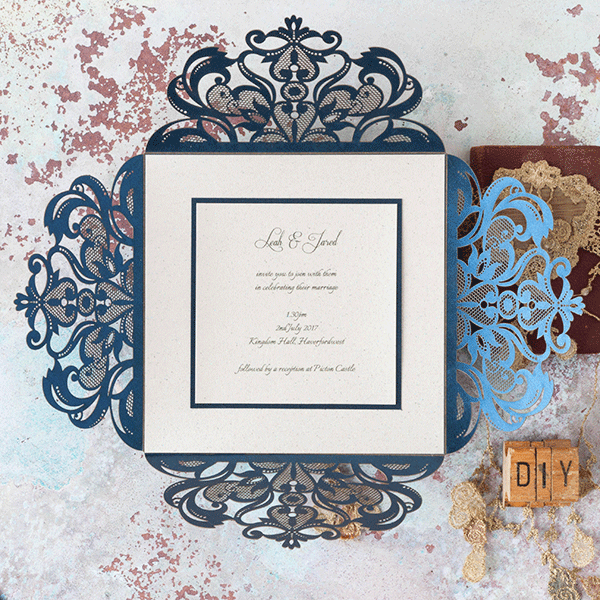 Jaipur navy invitation navy lasercut invitation for diy imagine diy wedding invitation diy laser cut wedding invitation in navy and ivory diy wedding junglespirit Gallery