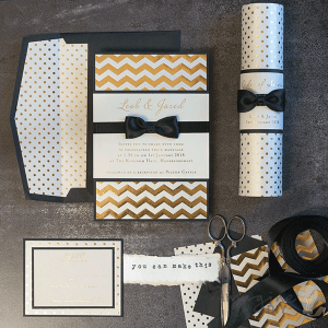 Make Foiled Gold and Black Tie Wedding Stationery