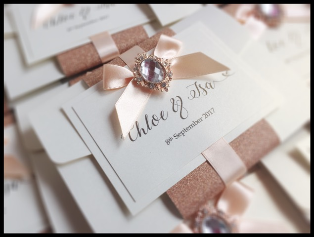 Beautiful Wedding invitation in rose gold and crem