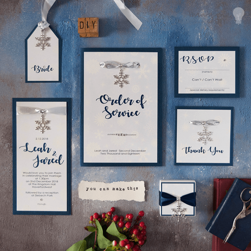 Make your own Winter Theme Wedding Stationery and DIY wedding stationery with snowflakes. Navy and white wedding stationery for winter wedding