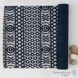 Navy Lida Table Runner - 2.5 Metre