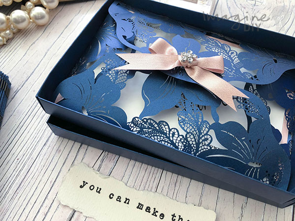 DIY Luxury Boxed Laser Cut Invitations in navy. DIY wedding stationery supplies and ideas