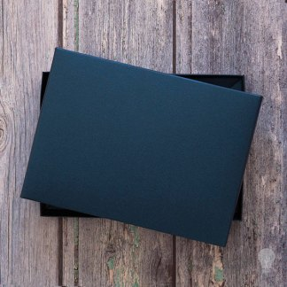 Navy greetings card box. Box for wedding invitations. Boxed invitations. Pearlised navy