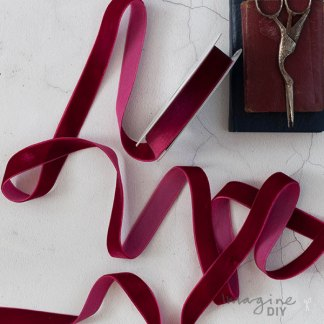 Bordeaux velvet ribbon by vivant. Luxury velvet ribbon