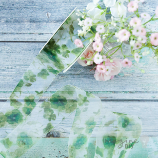 Bellefleur green floral organza ribbon. Pretty organza ribbon with floral pattern. perfect for DIY wedding stationery