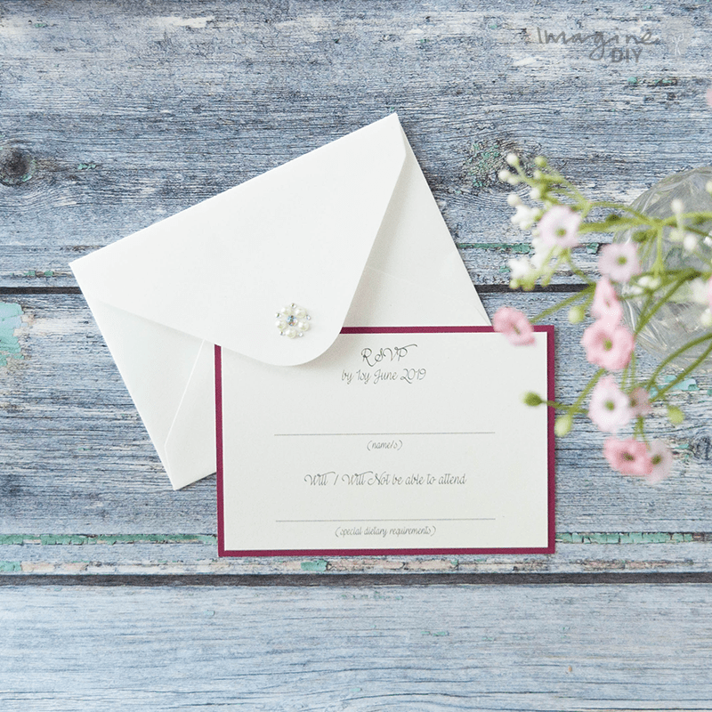 Make your own wedding stationery. DIY RSVP card and envelope. Luxury DIY wedding stationery supplies