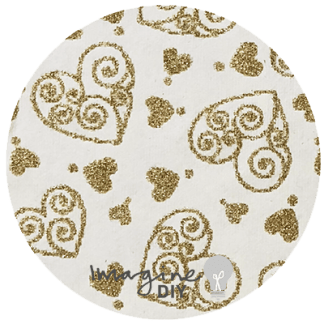Recycled cotton paper in ivory with gold glitter scroll hearts, Heart pattern paper,, glitter patterned paper, DIY wedding stationery and craft supplies. Decorative paper for DIY wedding invitations. White and Gold paper