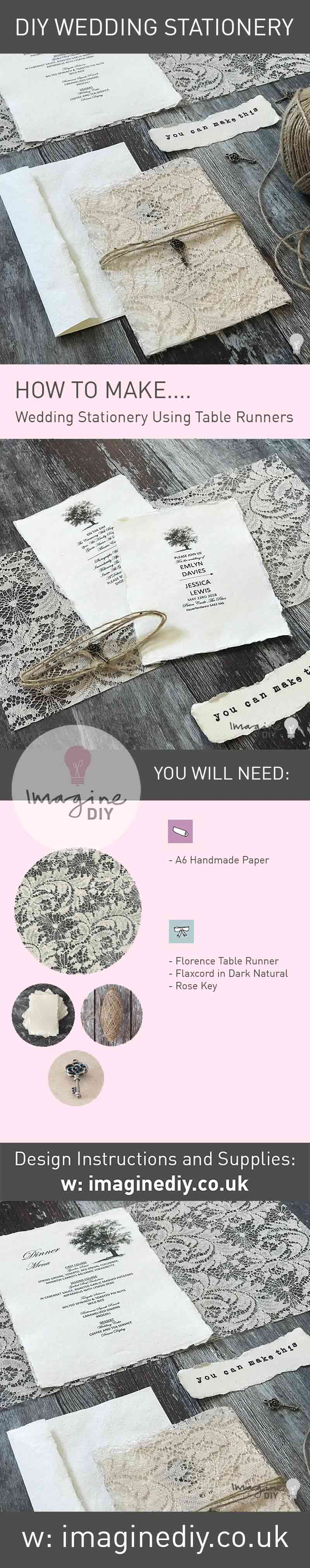 how to make easy DIY wedding stationery using fabric.  Rustic wedding invitations and wedding stationery to make yourself.  DIY lace wedding ideas.