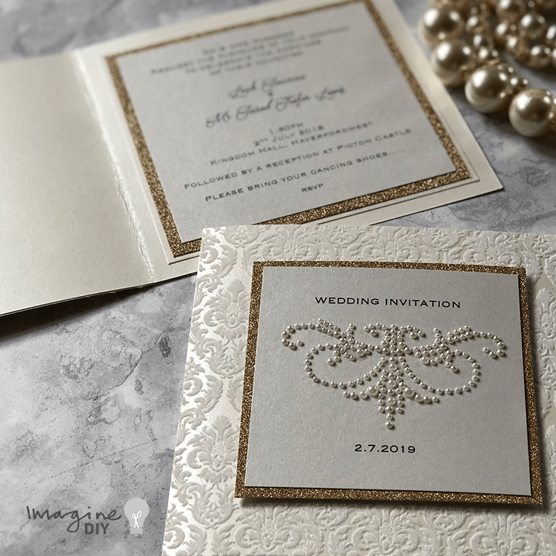 diy wedding invitation. ivory and rose gold wedding ideas. Glamorous DIY wedding invitation with damask flock and pearl decorations