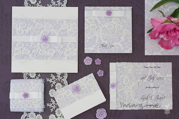 Lilac and Lace Wedding Stationery Wedding Idea. Vintage style wedding stationery in lilac with lace detail.