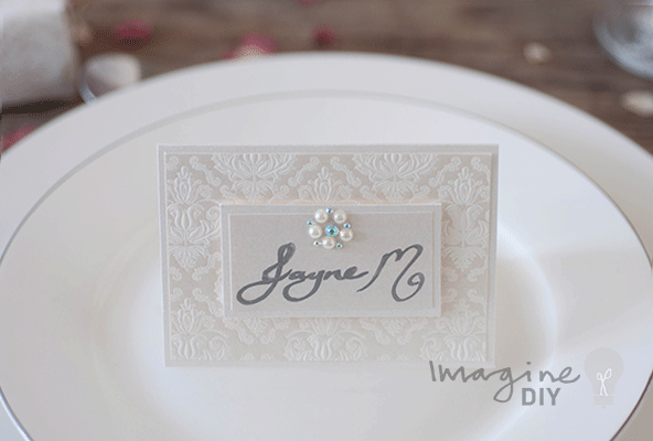 DIY Wedding Place Cards With Embossed Detail And Crystal Pearl Embellishment Placecard For Modern